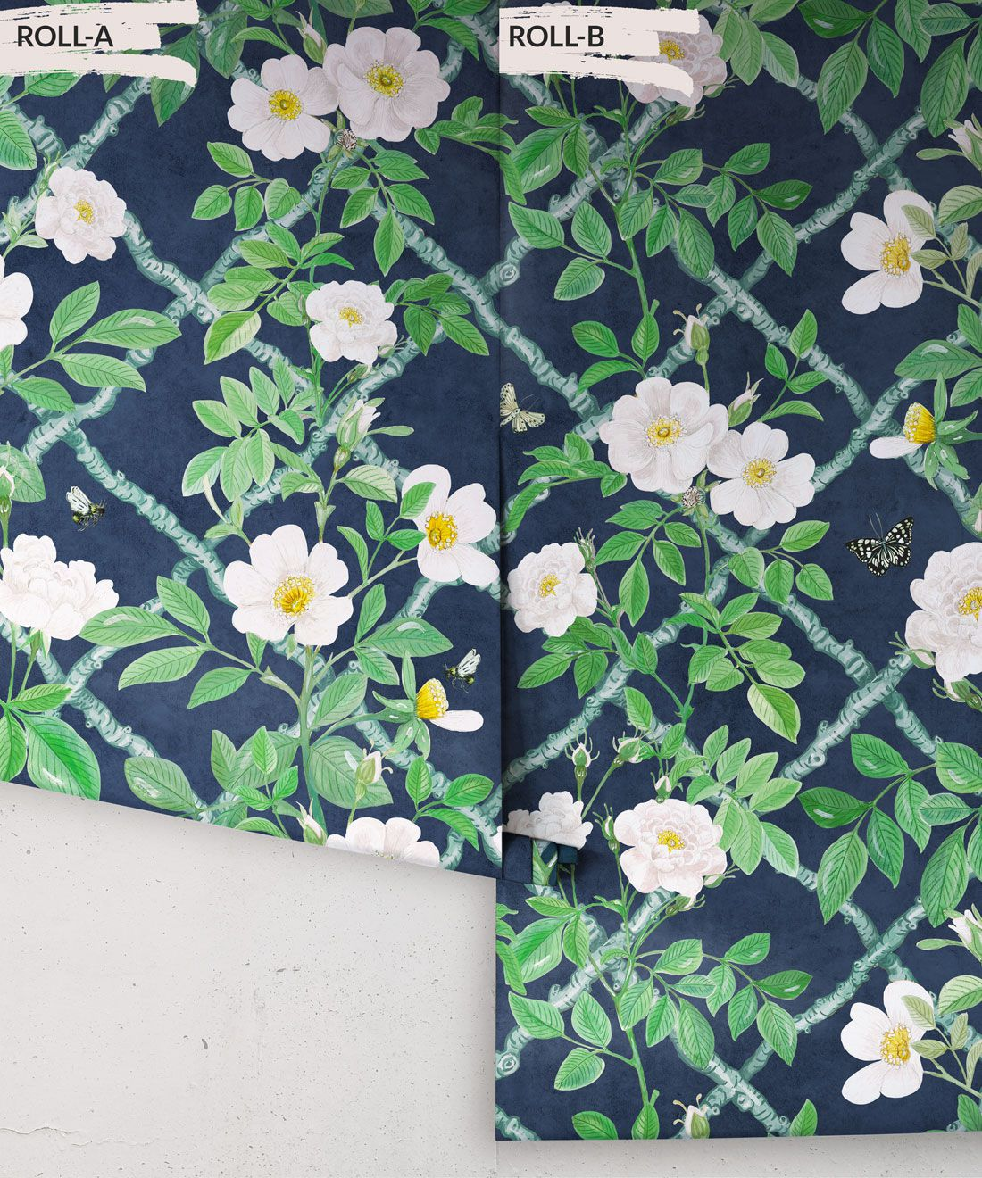 Treilage Wallpaper • Floral Wallpaper • Royal Blue • Rolls
