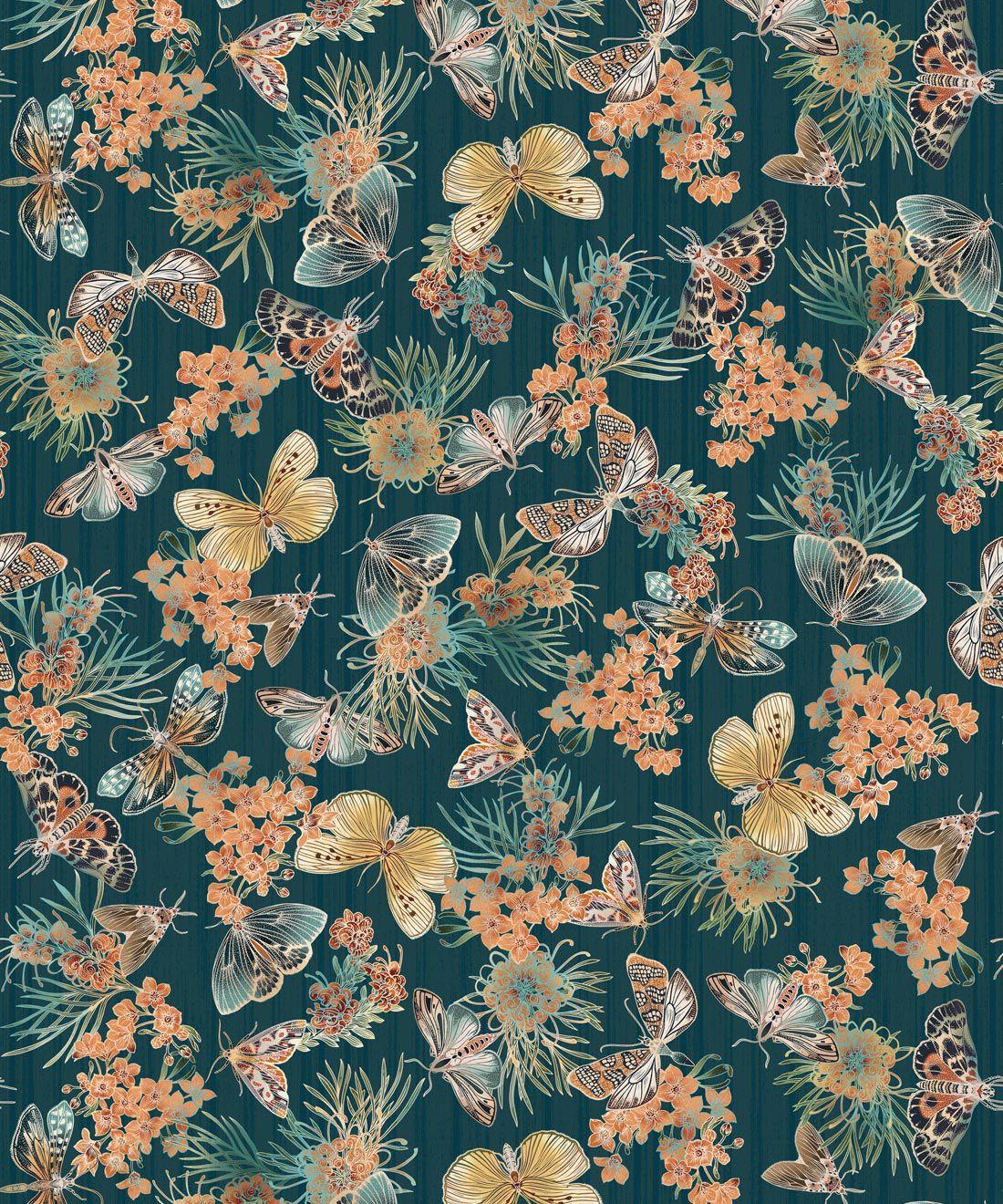 Moth Wallpaper • Eloise Short • Vintage Floral Wallpaper •Granny Chic Wallpaper • Grandmillennial Style Wallpaper •Deep Ocean •Swatch