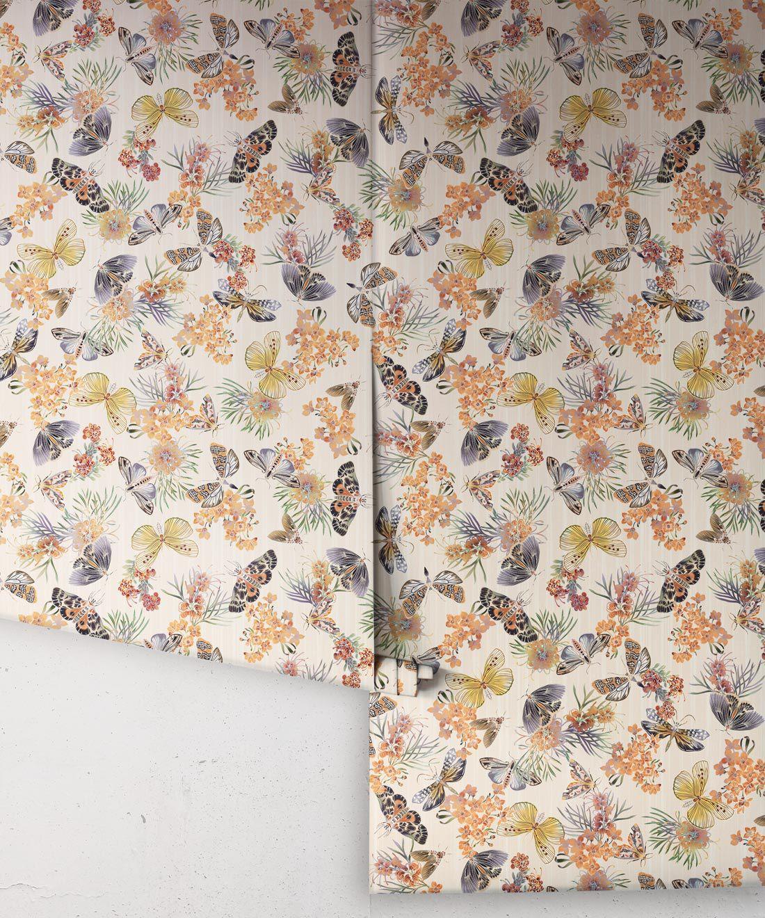 Moth Wallpaper • Eloise Short • Vintage Floral Wallpaper •Granny Chic Wallpaper • Grandmillennial Style Wallpaper •Ivory •Rolls