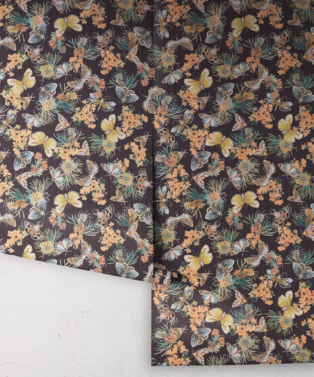 Moth Wallpaper • Eloise Short • Vintage Floral Wallpaper •Granny Chic Wallpaper • Grandmillennial Style Wallpaper •Night •Rolls