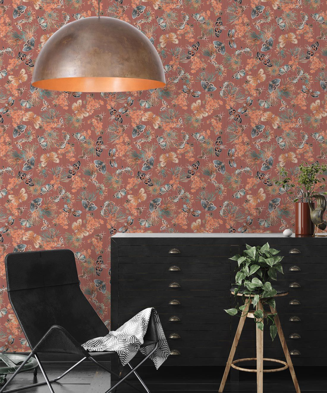 Moth Wallpaper • Eloise Short • Vintage Floral Wallpaper •Granny Chic Wallpaper • Grandmillennial Style Wallpaper •Rosewood •Insitu