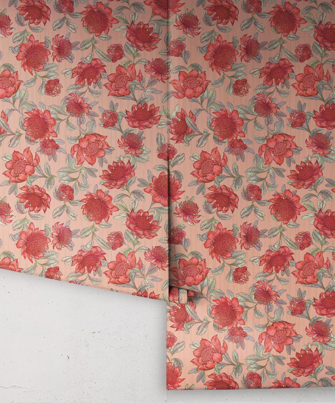 Waratah Wallpaper • Eloise Short • Vintage Floral Wallpaper •Granny Chic Wallpaper • Grandmillennial Style Wallpaper •Blush •Rolls