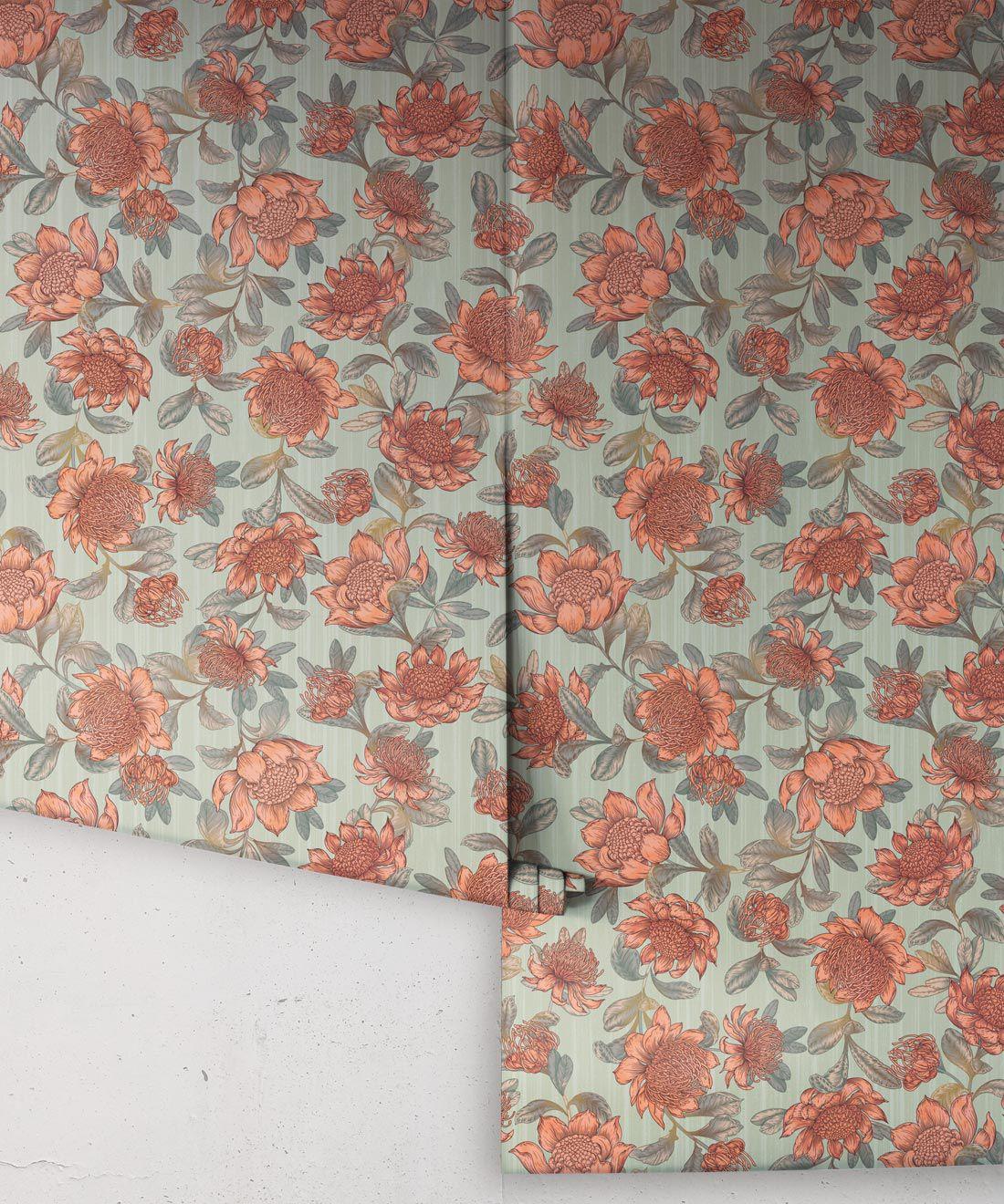 Waratah Wallpaper • Eloise Short • Vintage Floral Wallpaper •Granny Chic Wallpaper • Grandmillennial Style Wallpaper •Green •Rolls