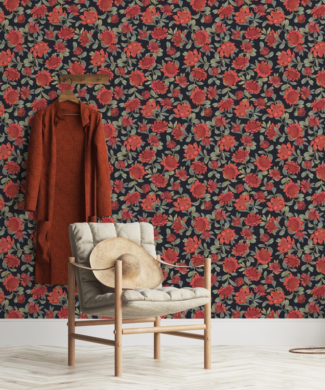 Waratah Wallpaper • Eloise Short • Vintage Floral Wallpaper •Granny Chic Wallpaper • Grandmillennial Style Wallpaper •Slate •Insitu