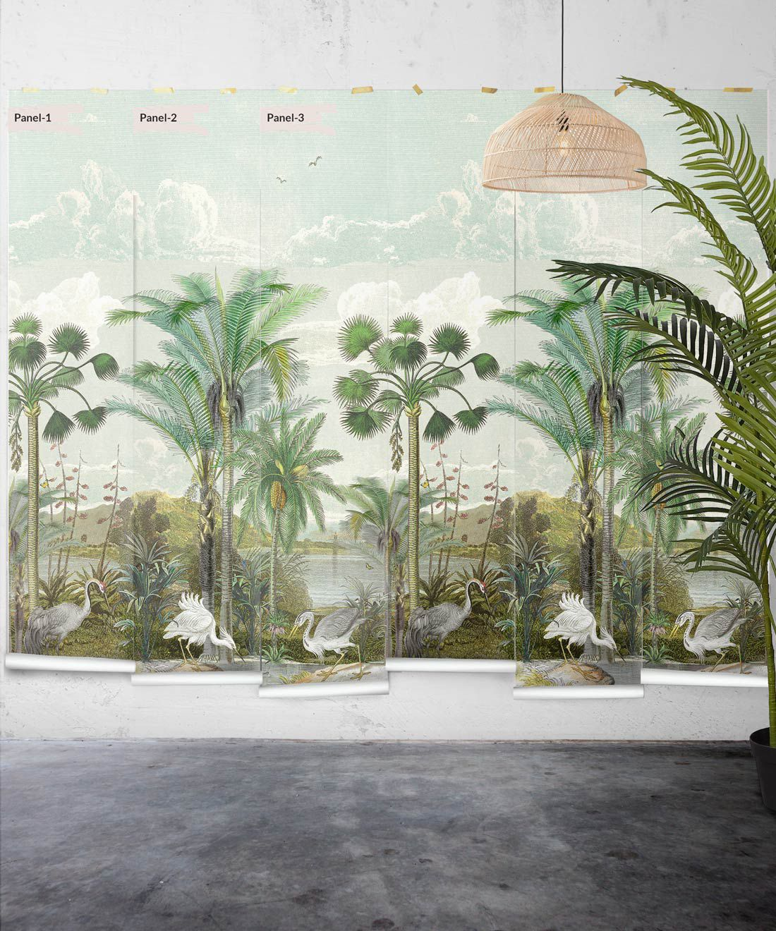 Indian Subcontinent Wallpaper Mural •Bethany Linz • Palm Tree Mural • Blue • Panels