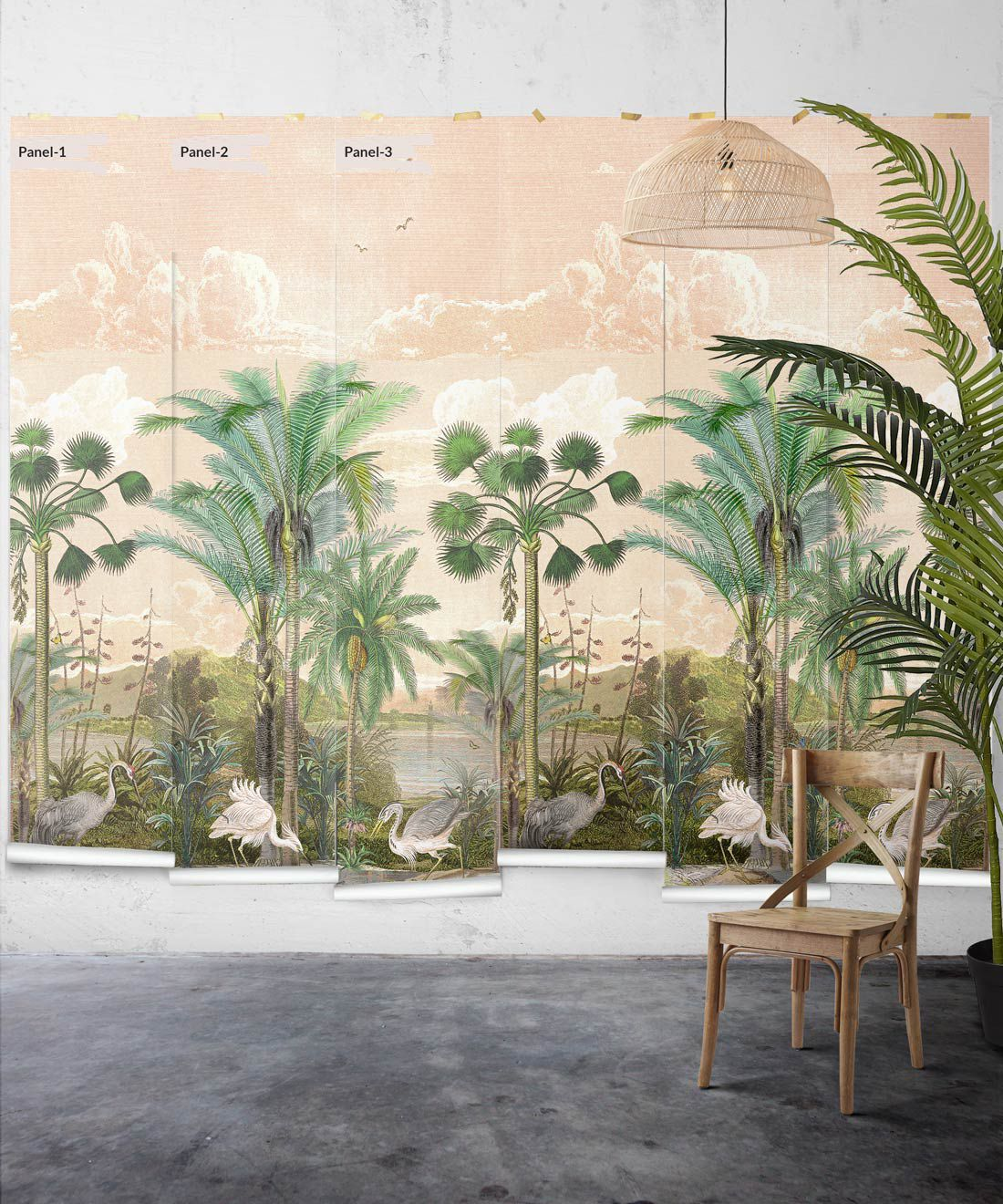 Indian Subcontinent Wallpaper Mural •Bethany Linz • Palm Tree Mural • Pink • Panels