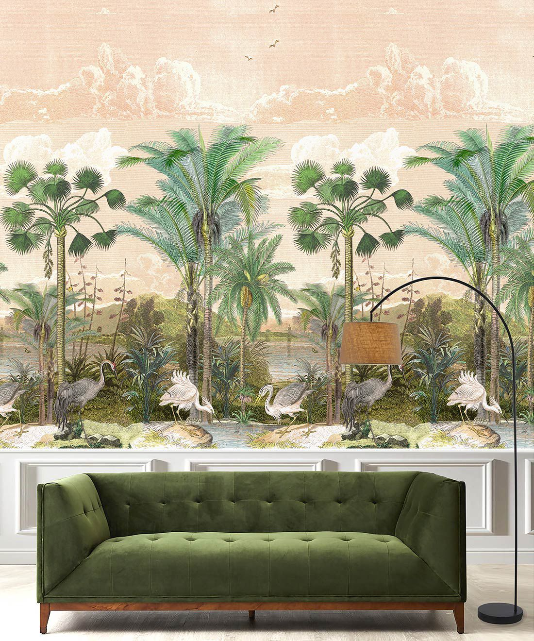 Indian Subcontinent Wallpaper Mural •Bethany Linz • Palm Tree Mural • Pink • Insitu