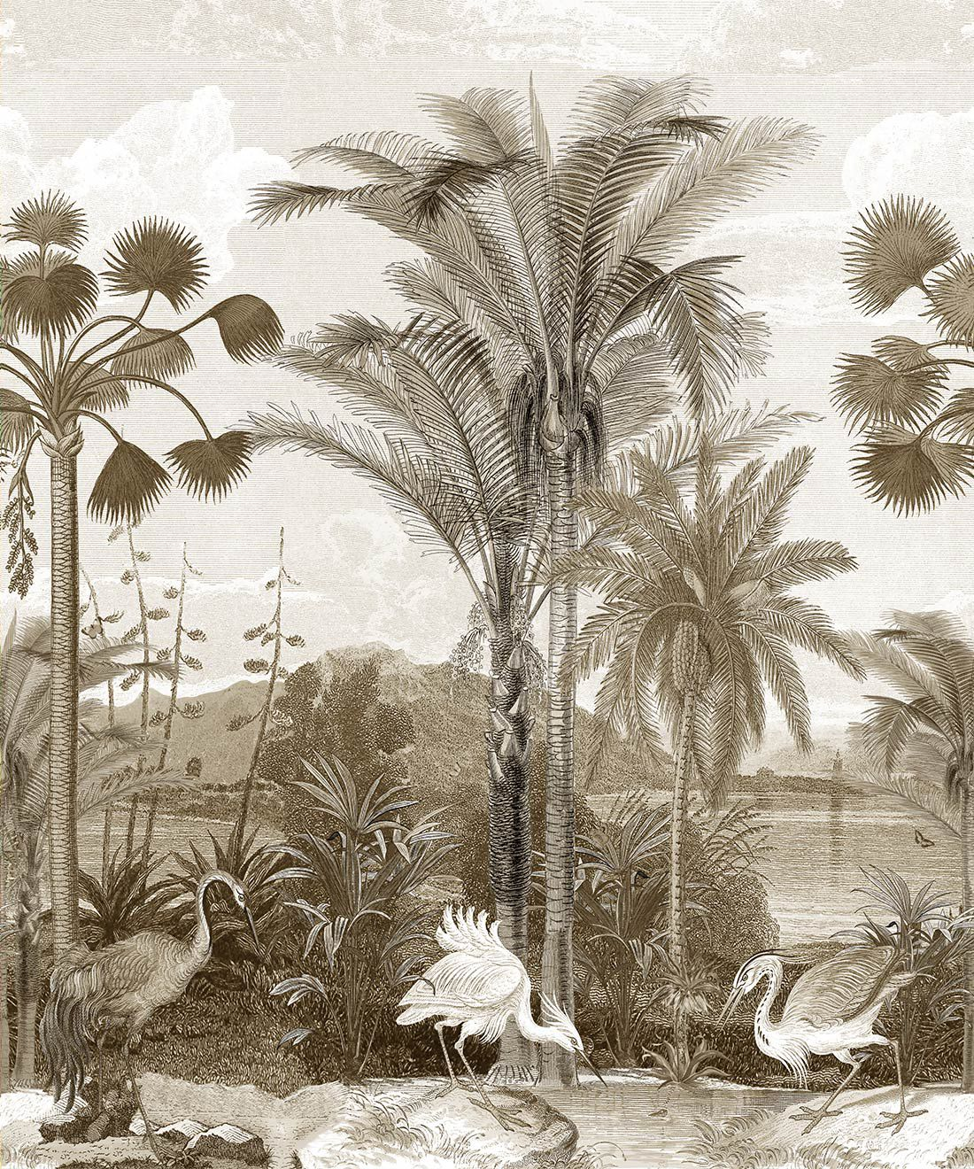 Indian Subcontinent Wallpaper Mural •Bethany Linz • Palm Tree Mural • Sepia • Swatch