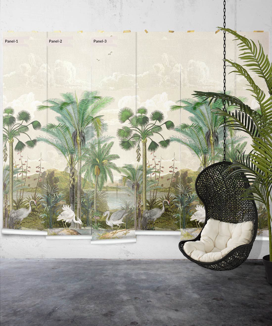 Indian Subcontinent Wallpaper Mural •Bethany Linz • Palm Tree Mural • Beige • Panels