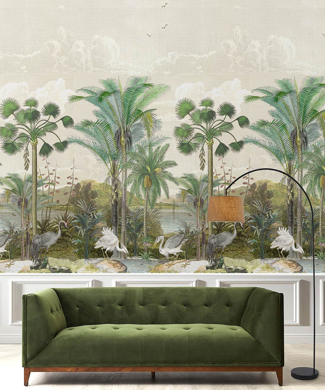 Indian Subcontinent Wallpaper Mural •Bethany Linz • Palm Tree Mural • Beige • Insitu