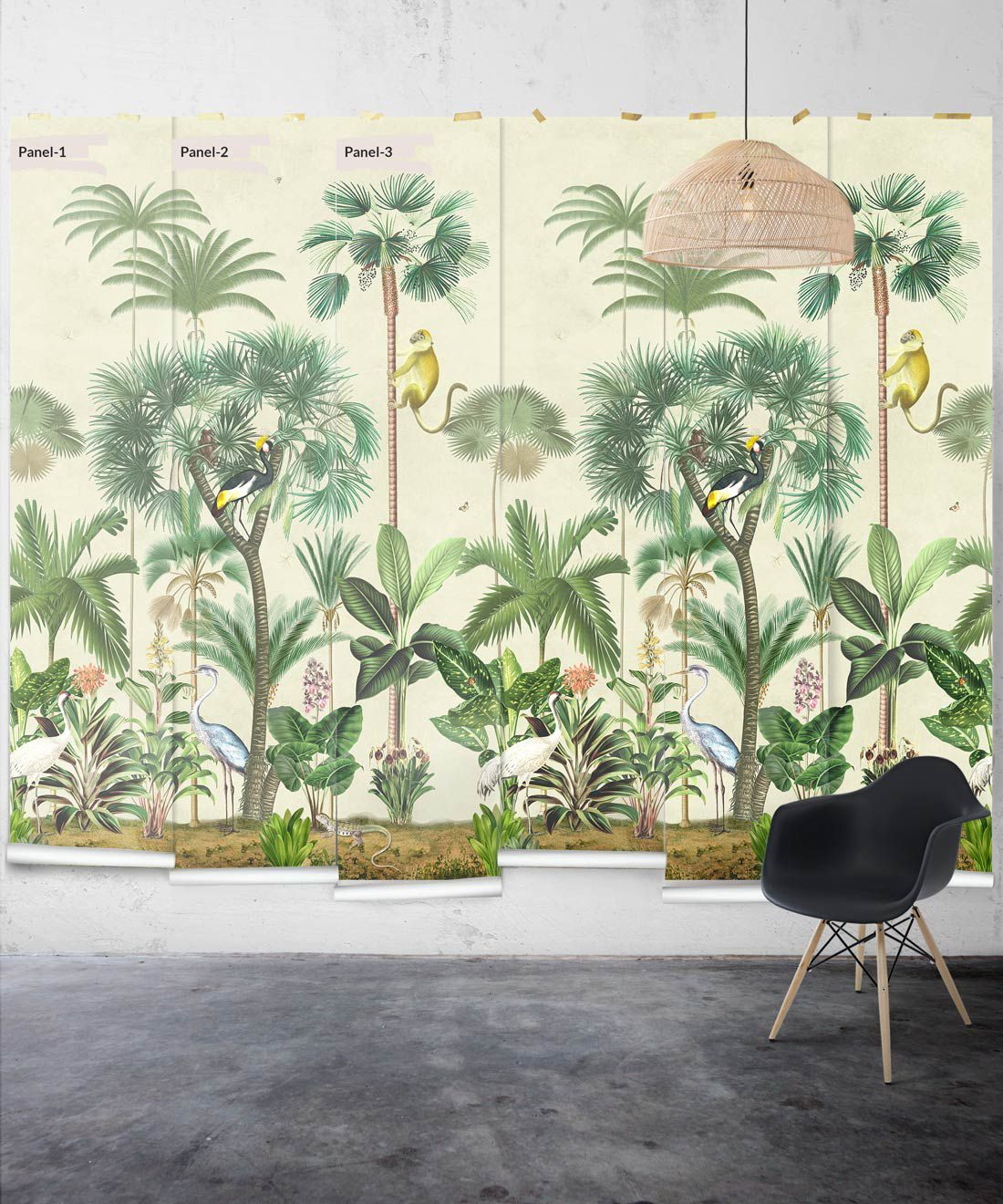 Indian Summer Wallpaper Mural •Bethany Linz • Palm Tree Mural • Aged • Panels