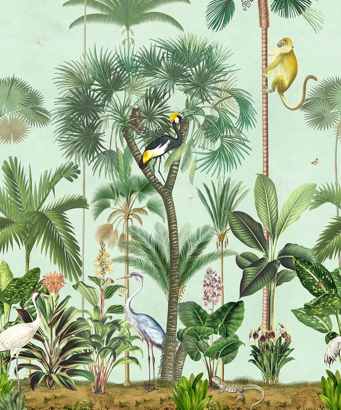 Indian Summer Wallpaper Mural •Bethany Linz • Palm Tree Mural • Blue • Swatch