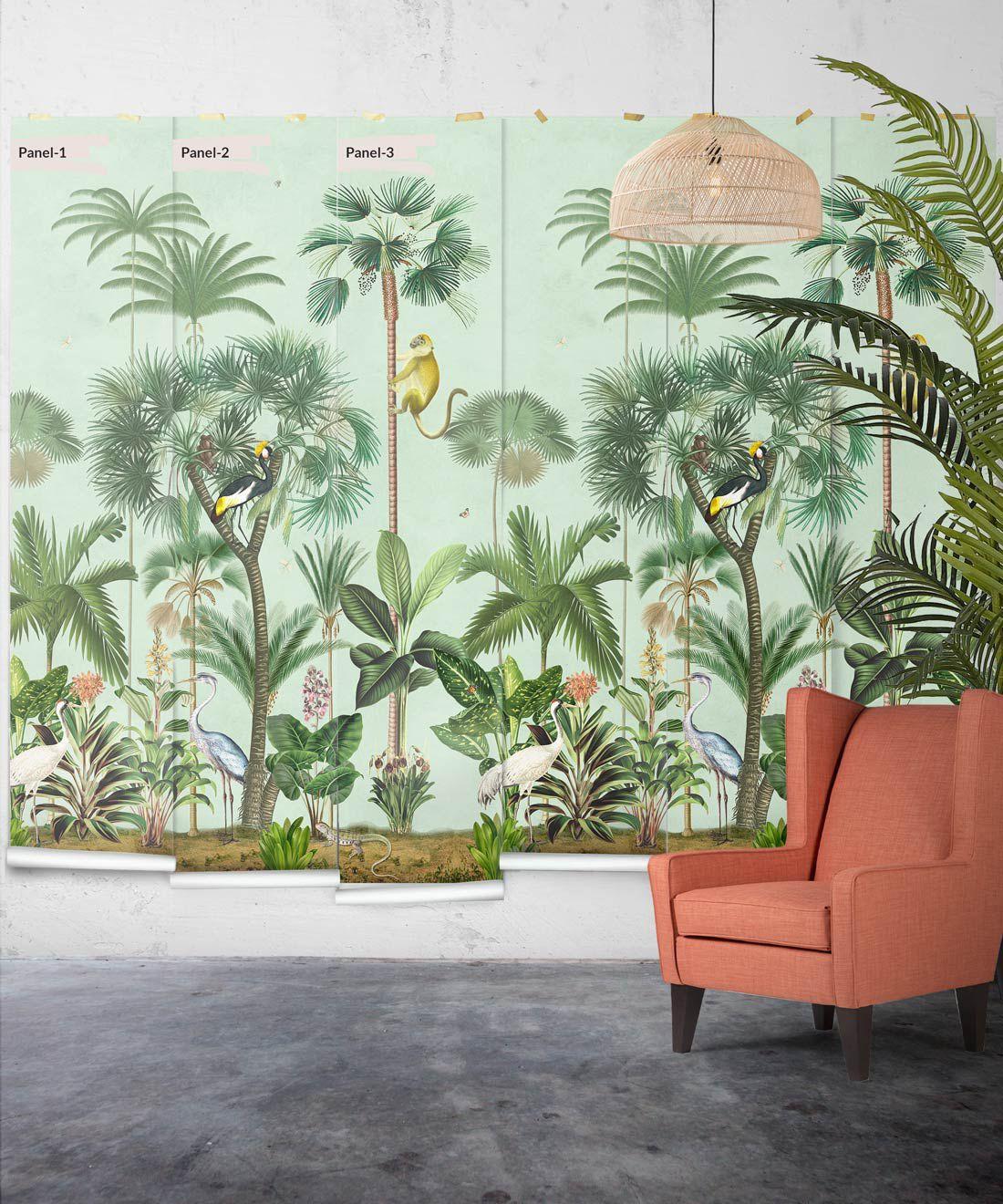 Indian Summer Wallpaper Mural •Bethany Linz • Palm Tree Mural • Blue • Panels