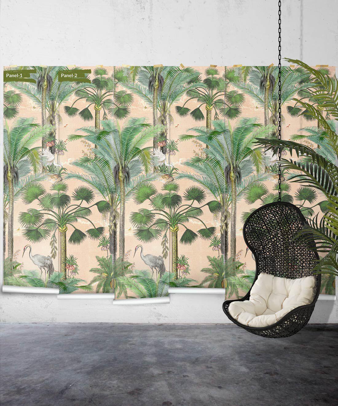 Kerala Palms Wallpaper Mural •Bethany Linz • Palm Tree Mural • Pink • Panels