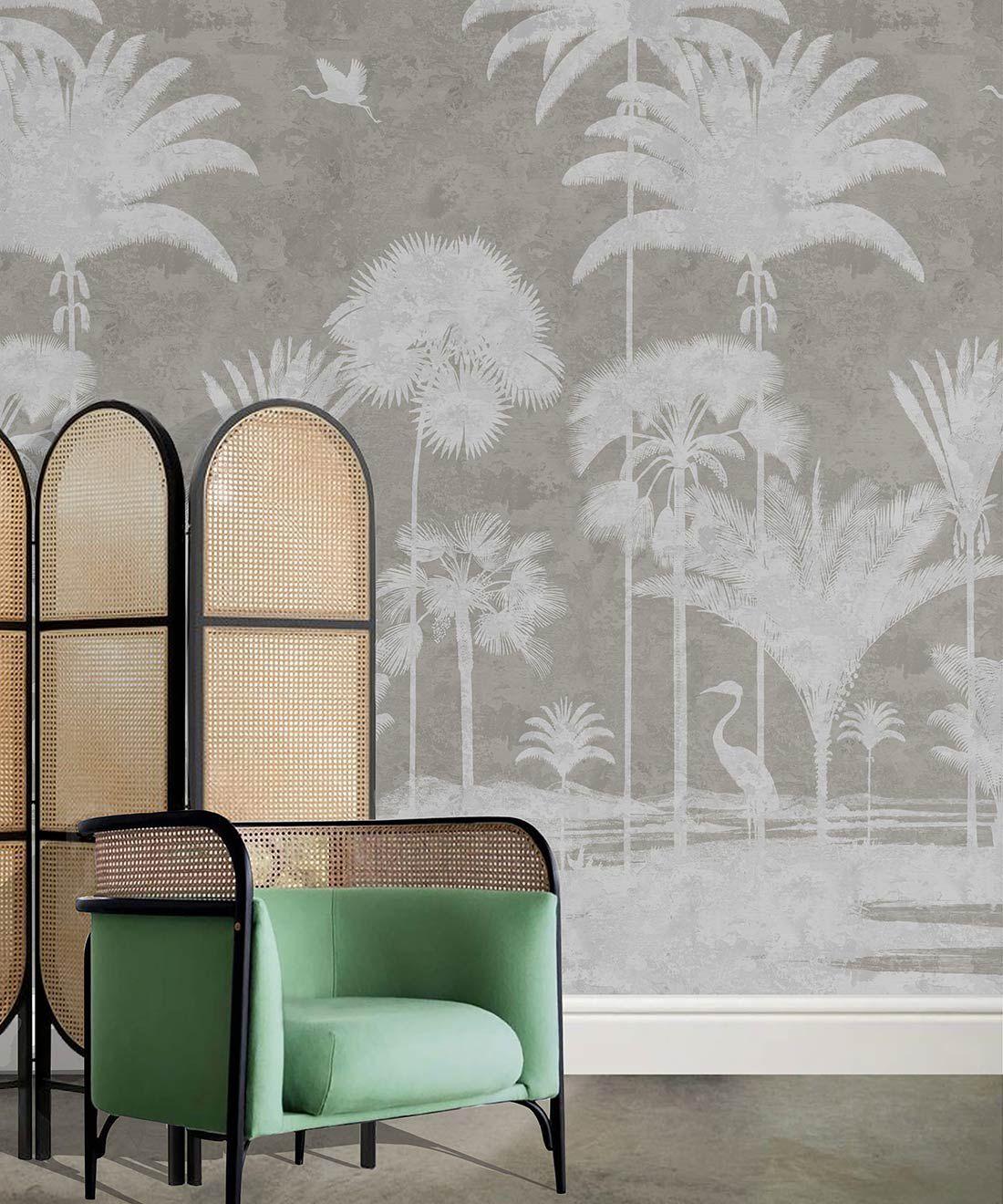 Shadow Palms Wallpaper Mural •Bethany Linz • Palm Tree Mural • Beige • Insitu