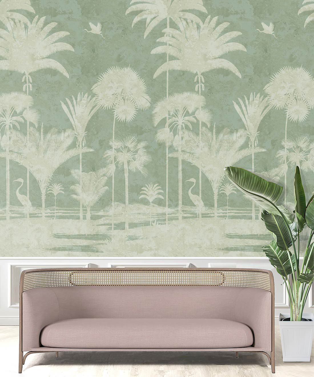 Shadow Palms Wallpaper Mural •Bethany Linz • Palm Tree Mural • Mint • Insitu