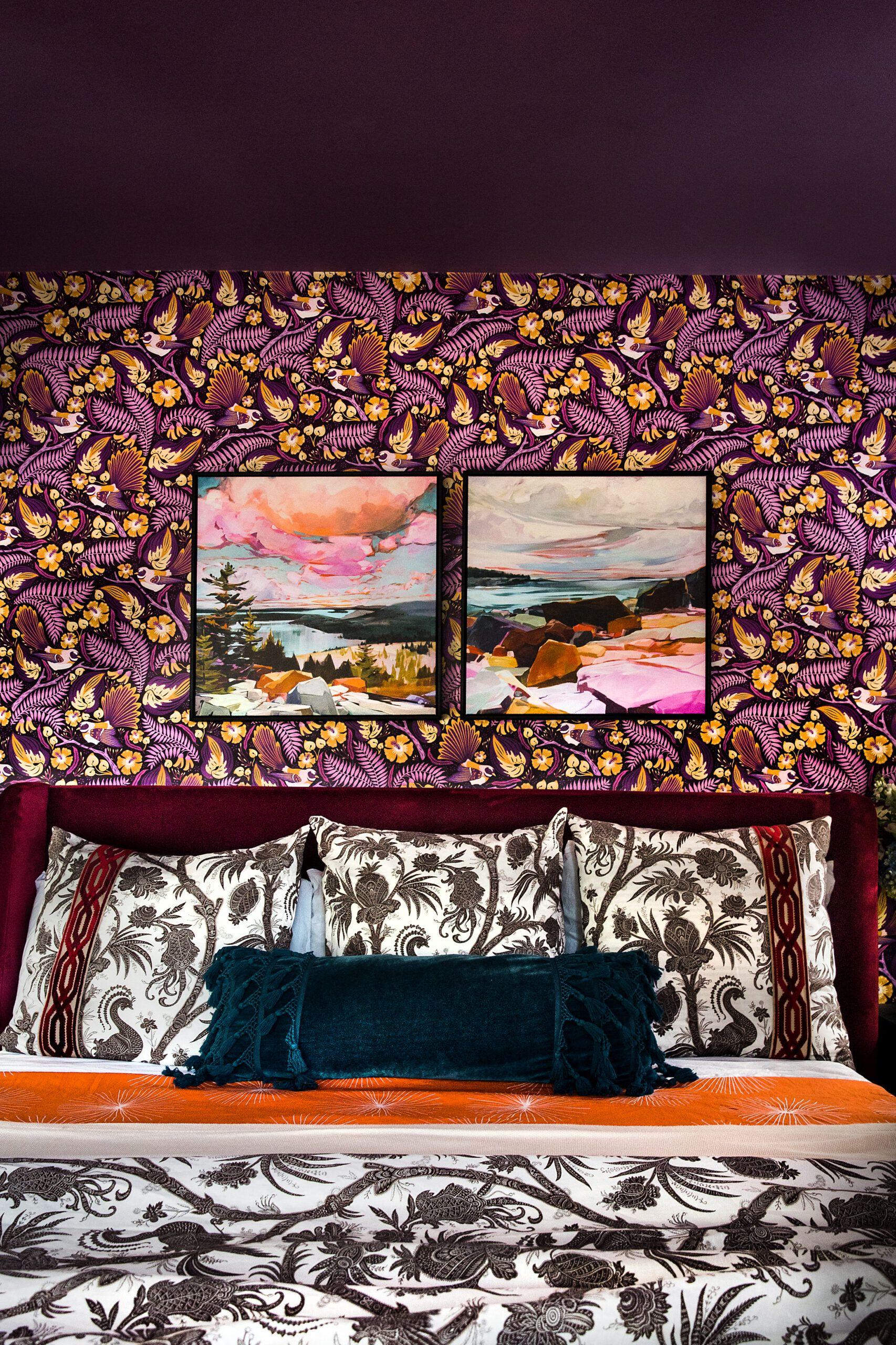 Fantails Wallpaper • Folklore & Flora • Maroon Wallpaper • Purple Wallpaper • Rachel Moriarty Interiors • Deborah Shields Photography