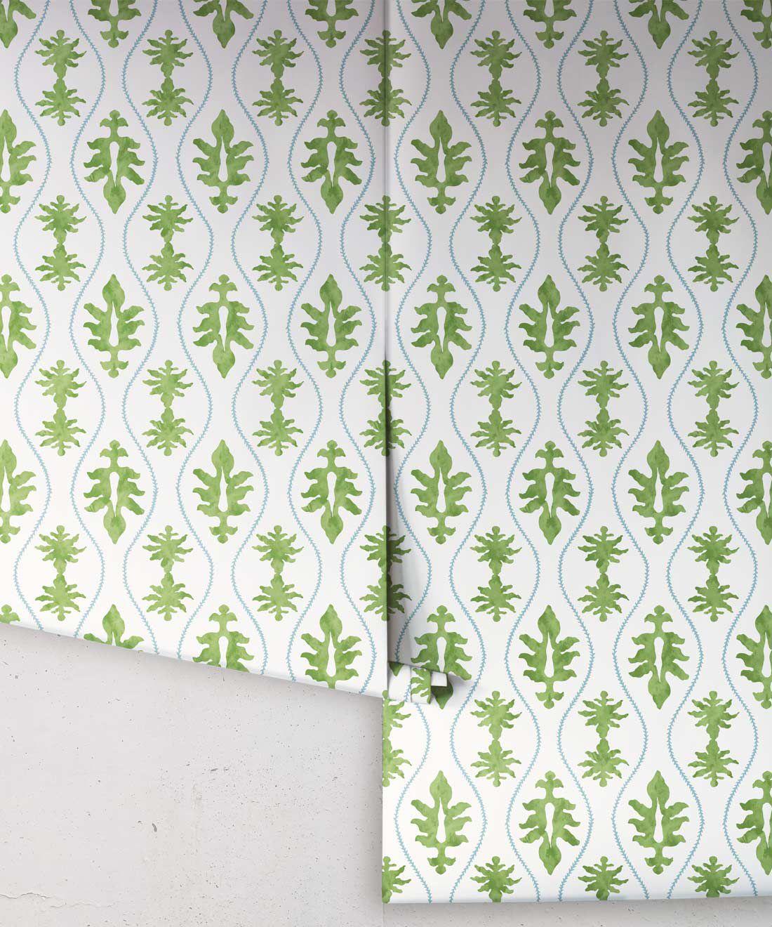 Great Jones Wallpaper • Dianne Bergeron • Moss • Rolls