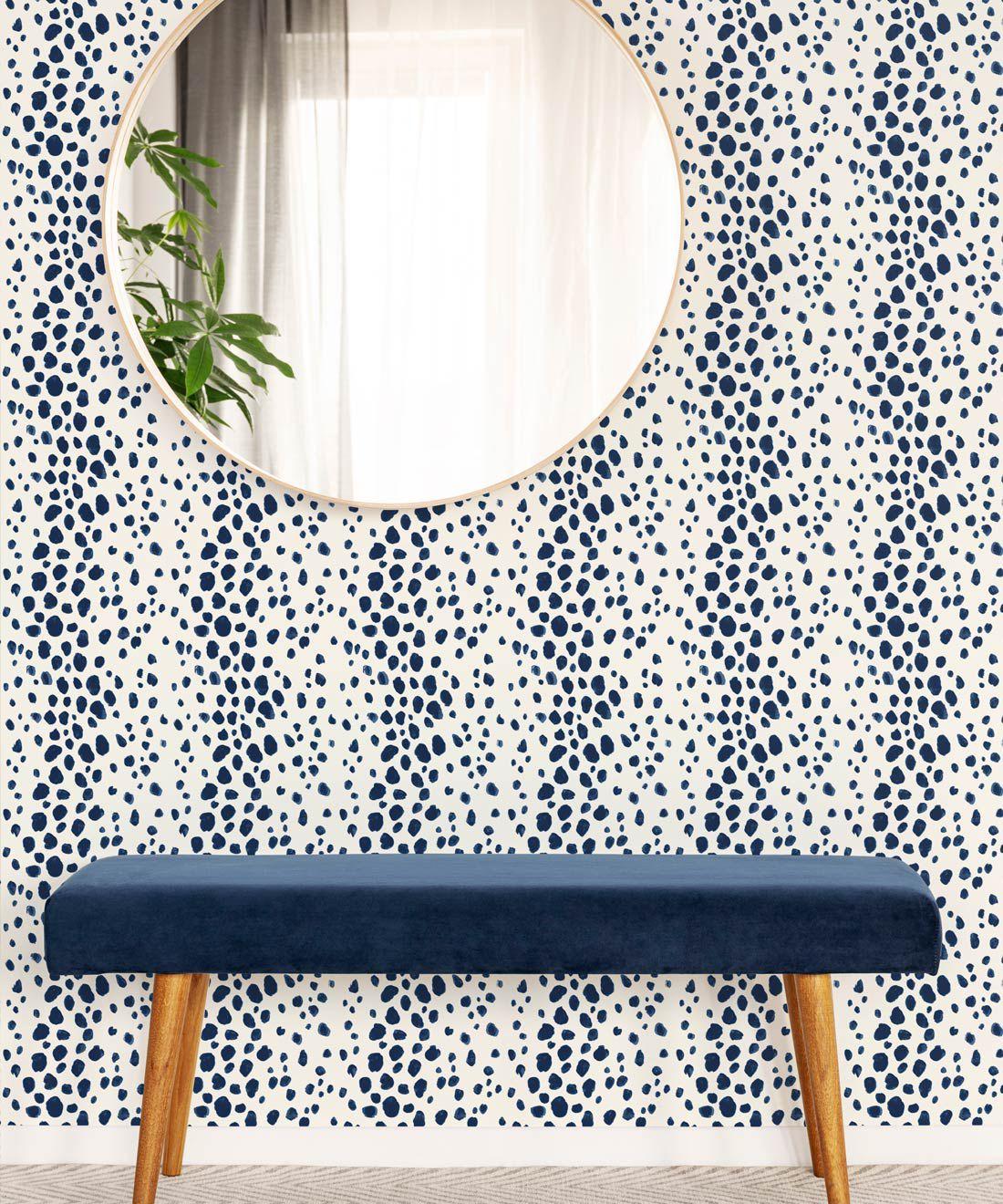 Park Avenue Wallpaper • Dianne Bergeron • Animal Print Wallpaper • Animal Spots Wallpaper • Indigo • Insitu