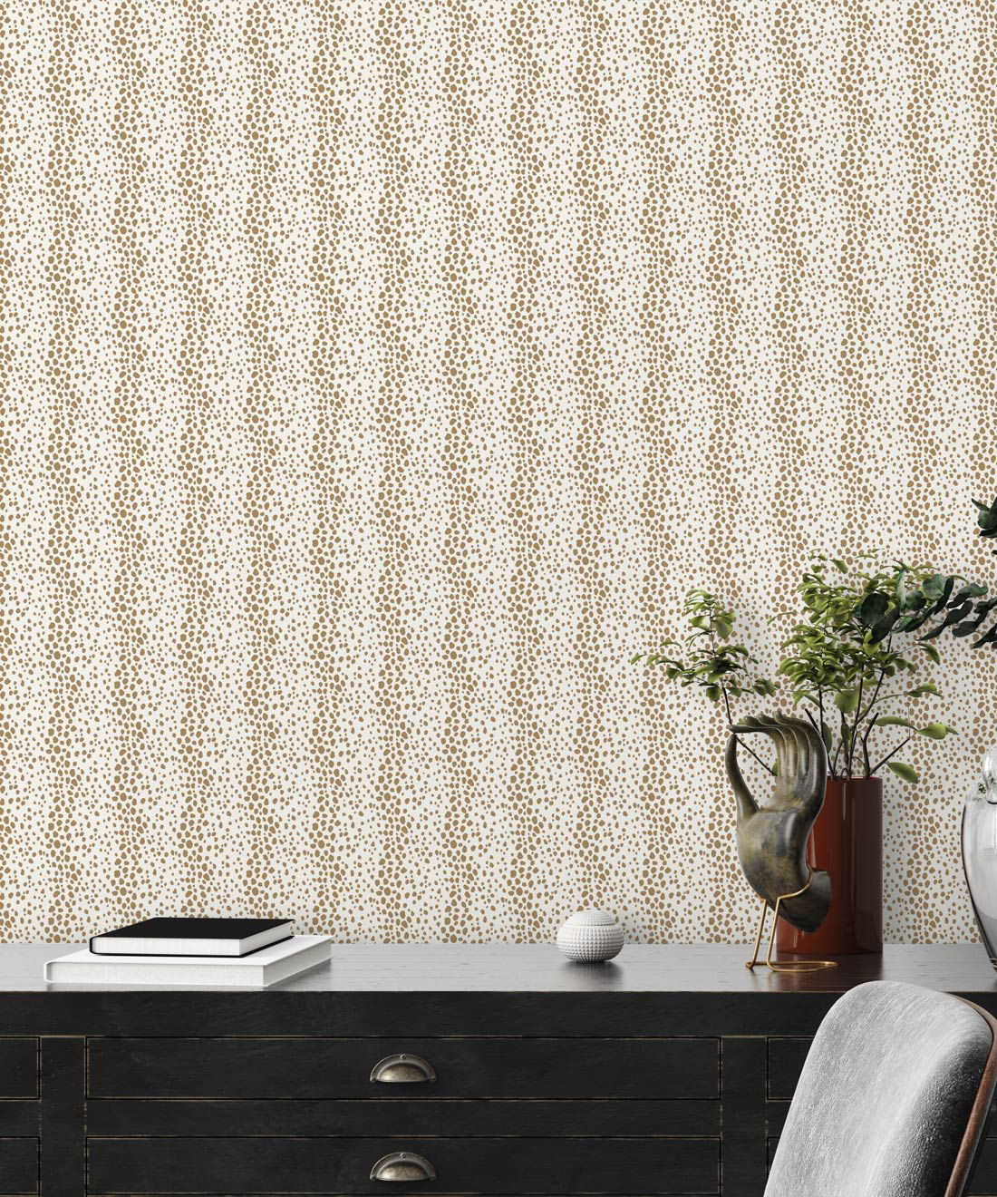 Park Avenue Petite Wallpaper • Dianne Bergeron • Animal Print Wallpaper • Animal Spots Wallpaper • Camel •Insitu