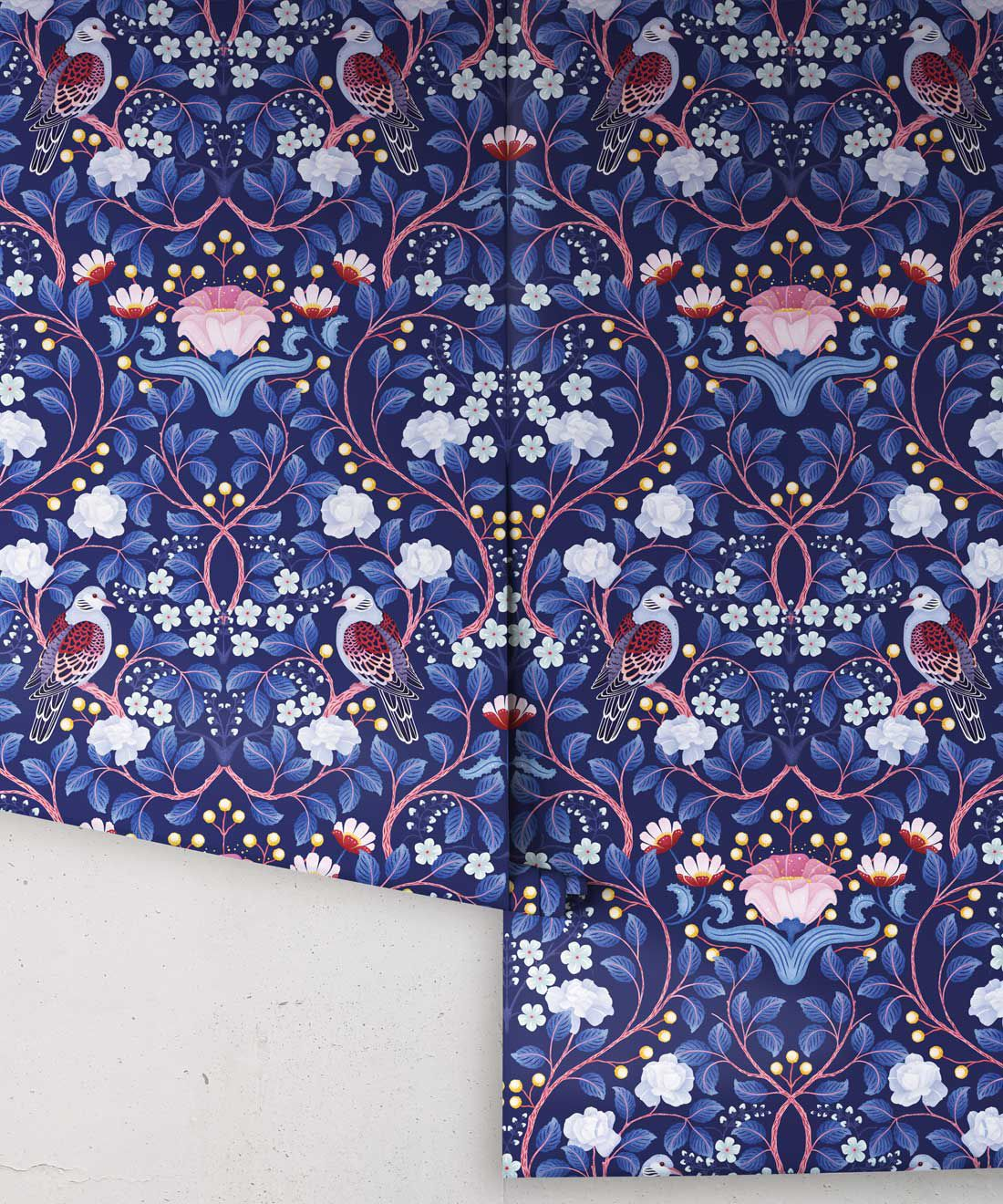 Turtle Doves Wallpaper • Bold Colorful Bird Wallpaper • Blueberry •Rolls