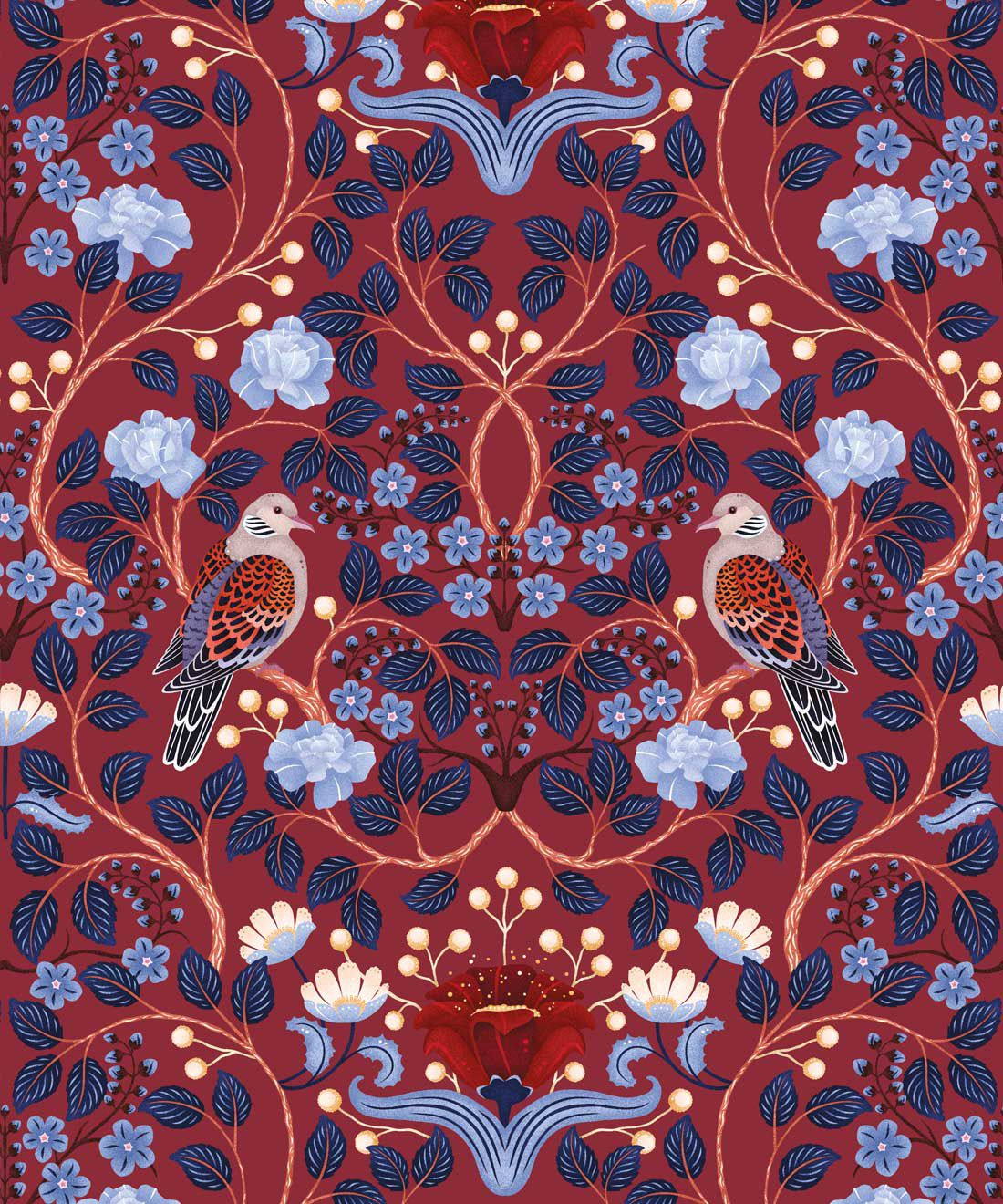 Turtle Doves Wallpaper • Bold Colorful Bird Wallpaper • Merlot •Swatch
