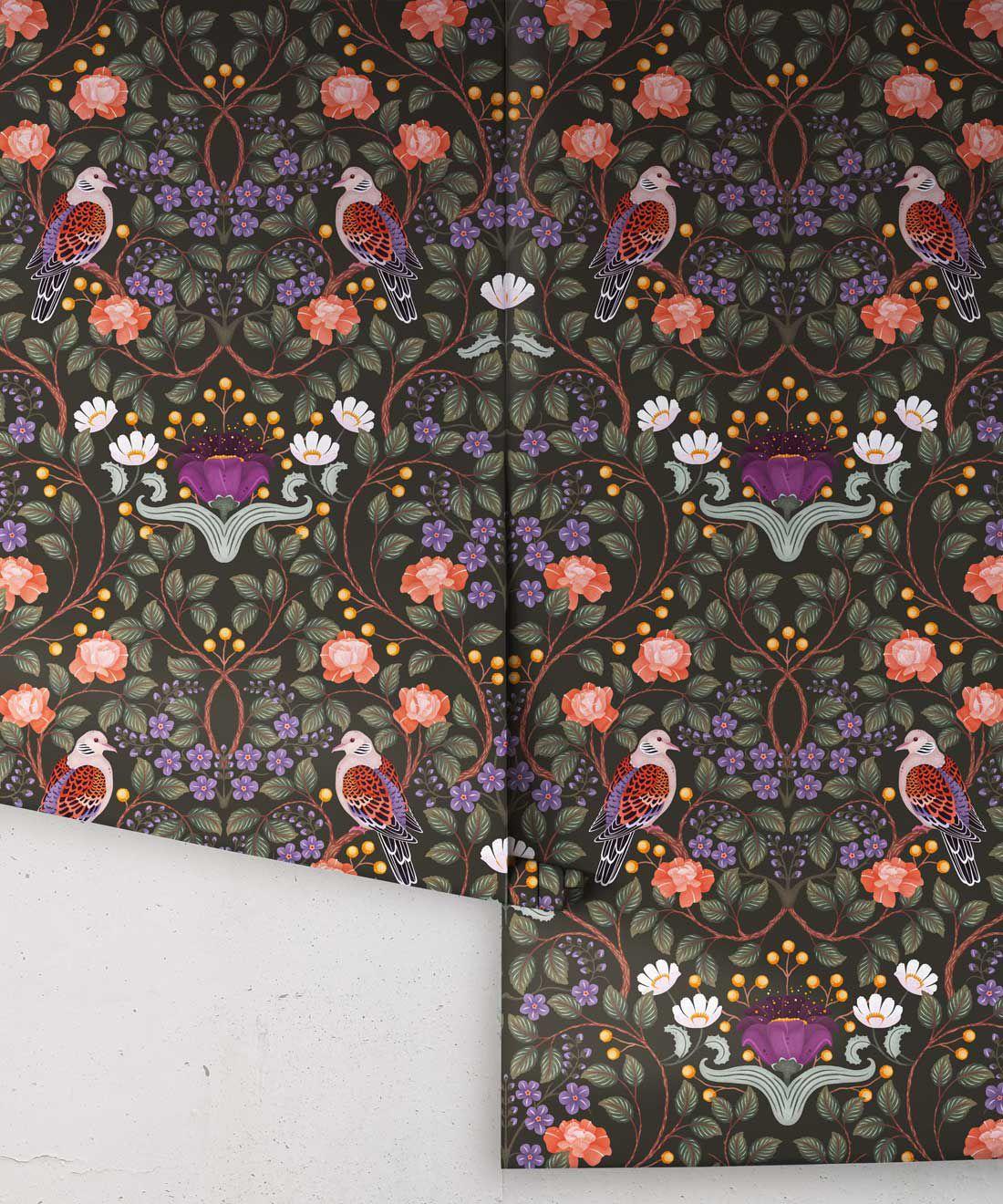 Turtle Doves Wallpaper • Bold Colorful Bird Wallpaper • Original •Rolls