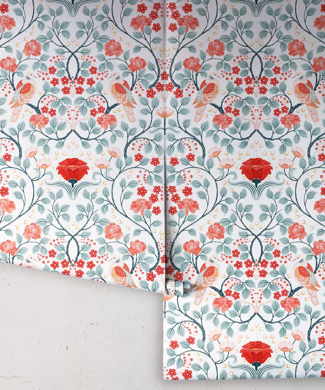 Turtle Doves Wallpaper • Bold Colorful Bird Wallpaper • Peppermint •Rolls