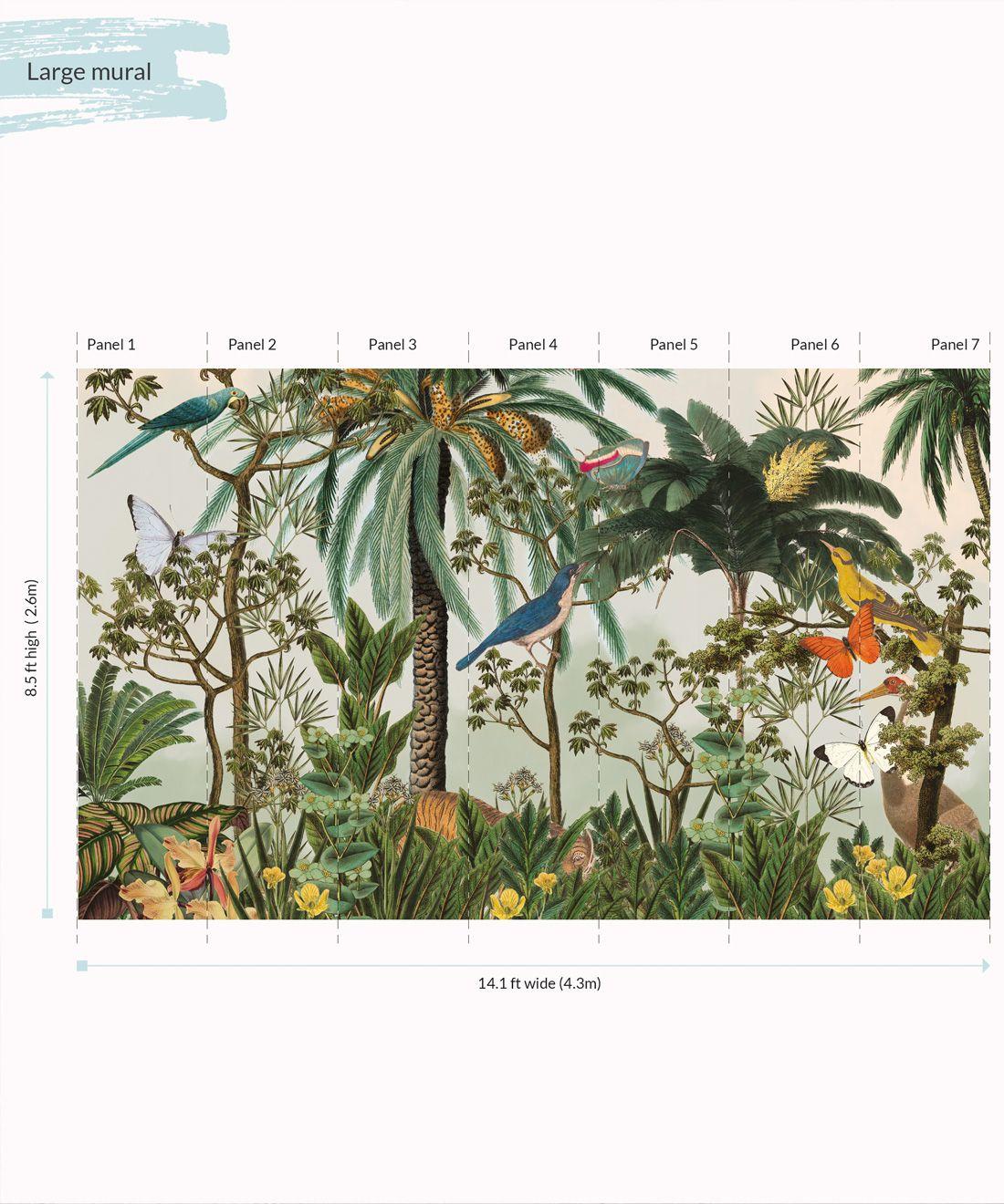 Heritage Jungle Mural • Tropical Jungle Animal Wallpaper • Large Panels