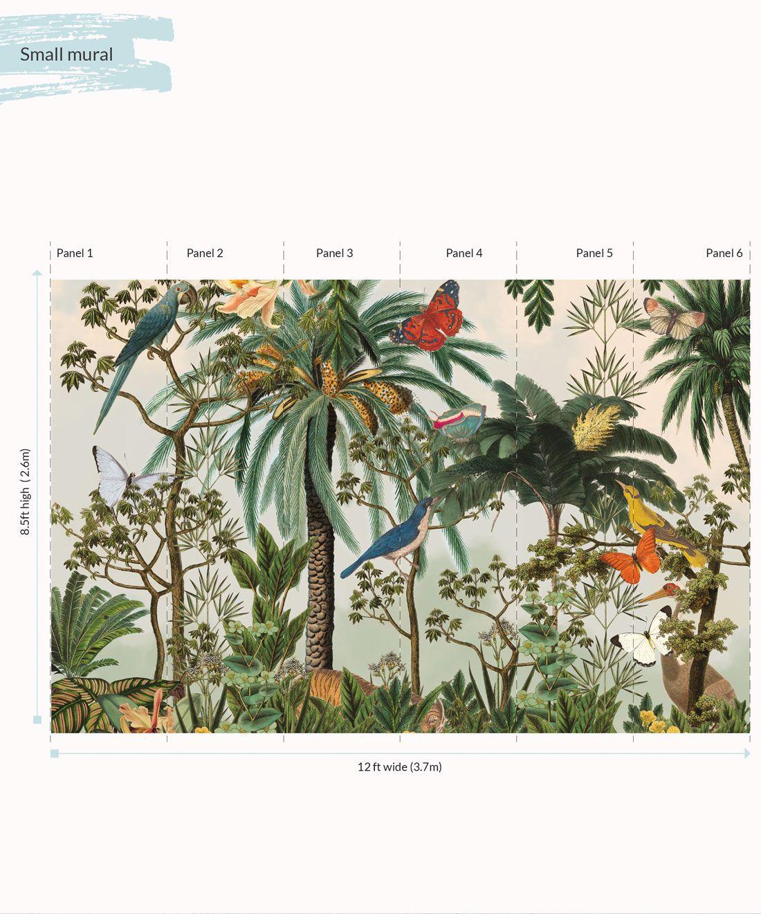 Heritage Jungle Mural • Tropical Jungle Animal Wallpaper • Small Panels