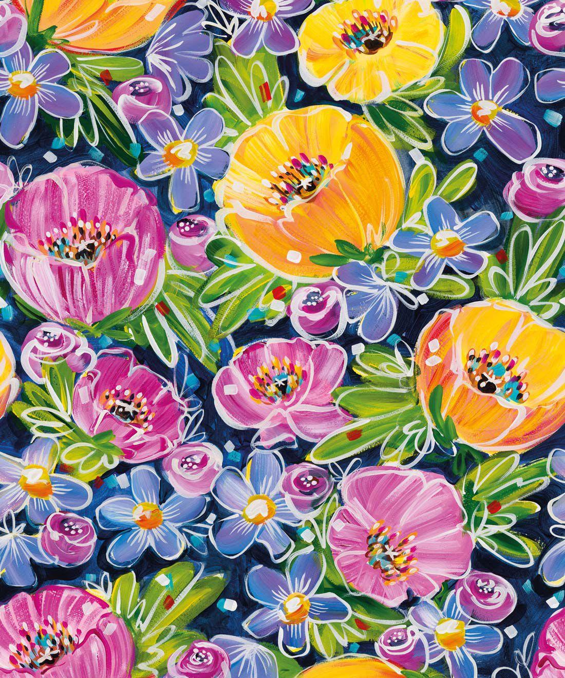 Peony Poppies Wallpaper